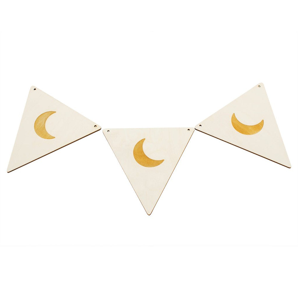 Wooden Crescent Moon Bunting