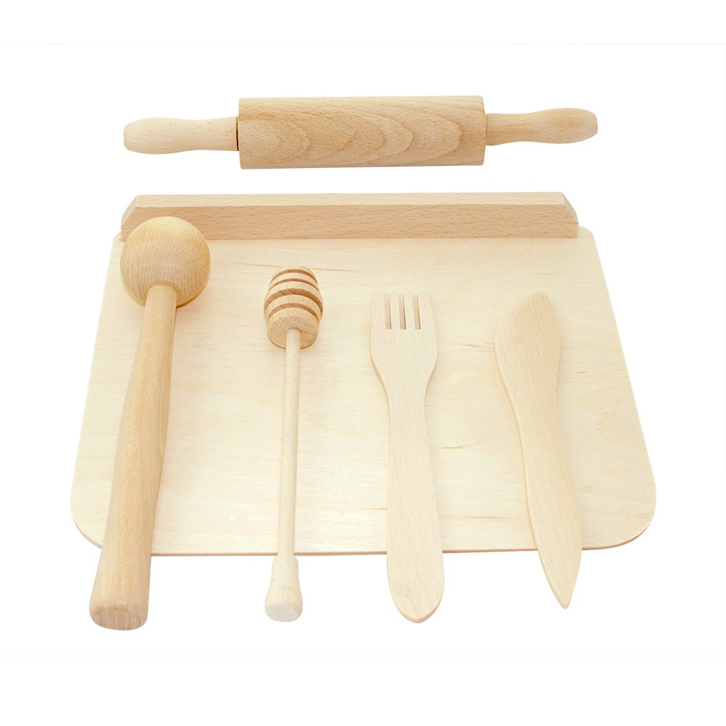 Wooden Kitchen and Playdough Tool Set