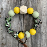 Silicone Bead Keyring Bracelet- camo collection