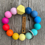 Silicone Bead Keyring Bracelet- Rainbow collection