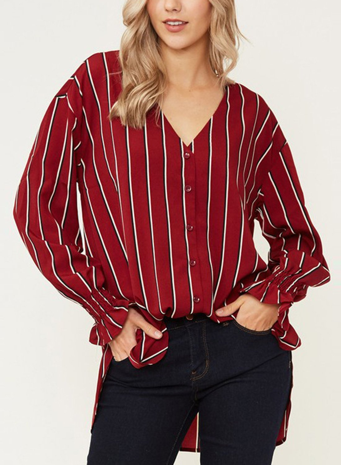 3cd209ae Red Chiffon Striped V Neck Long Sleeve High Low Loose Button Down Shirt
