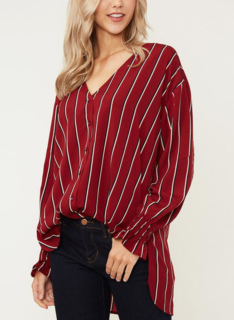 650c66ea ... Red Chiffon Striped V Neck Long Sleeve High Low Loose Button Down Shirt  ...