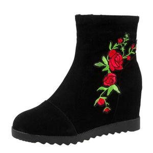 00a4d7b3d628 Floral Embroidery Round Toe Wedge Heels Boots – Basicoco
