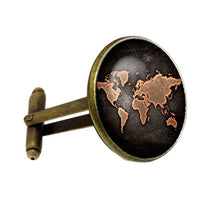 Load image into Gallery viewer, Columbus world map cufflinks