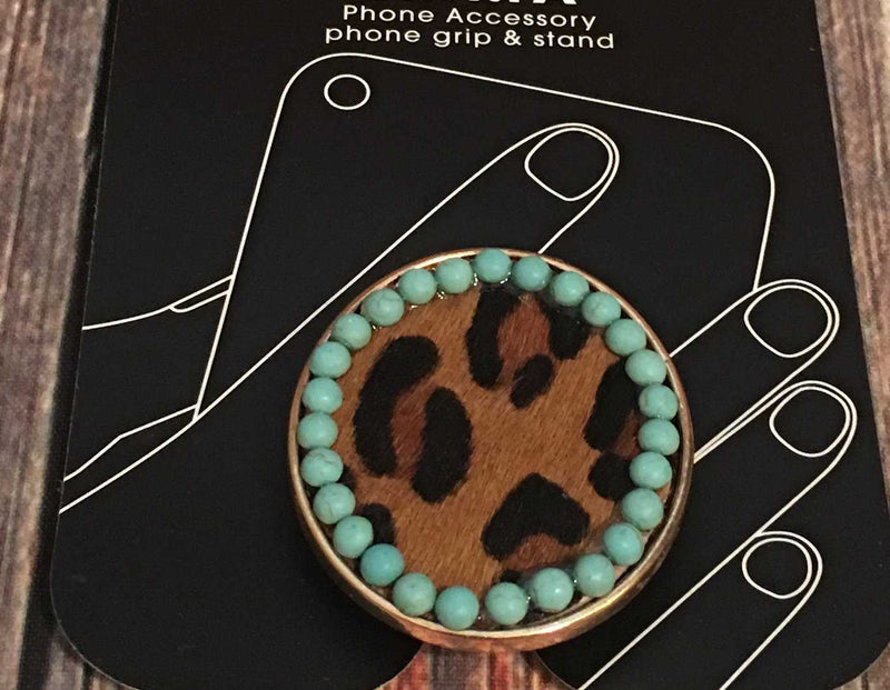 Leopard Hide/Turquoise Phone Grip Holder/Stand