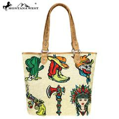 Montana West Wild West Painting Canvas Tote Bag