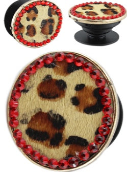 Leopard Hide/ Red Phone Grip Holder/Stand