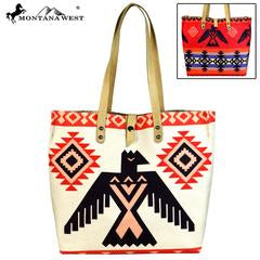 Montana West American Native Collection Dual Sided Print Canvas Fabric Tote