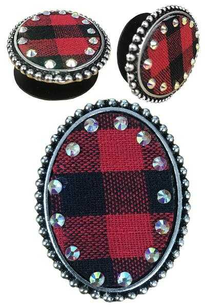 Buffalo Plaid Phone Grip from Outlaws and Angels Boutique