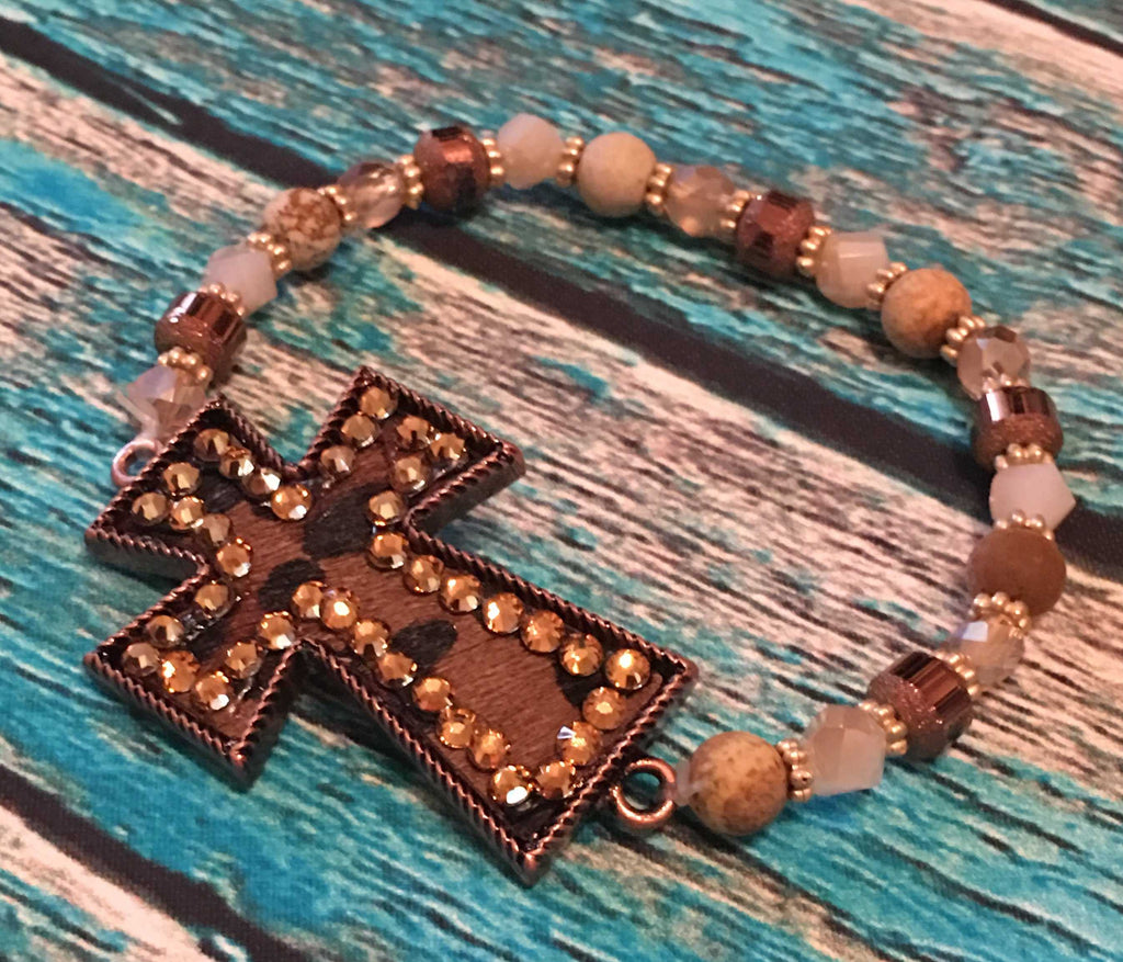 Beaded Leopard Cross Bracelet from Outlaws and Angels Boutique