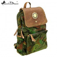 Load image into Gallery viewer, Montana West Genuine Leather Canvas Travel Bag Collection Backpack