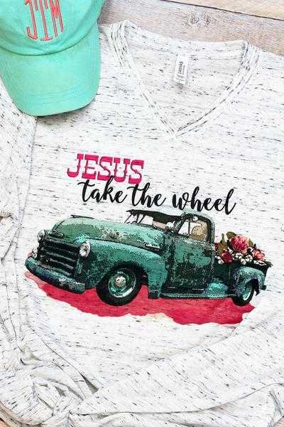 Jesus Take The Wheel Unisex V-Neck Tee