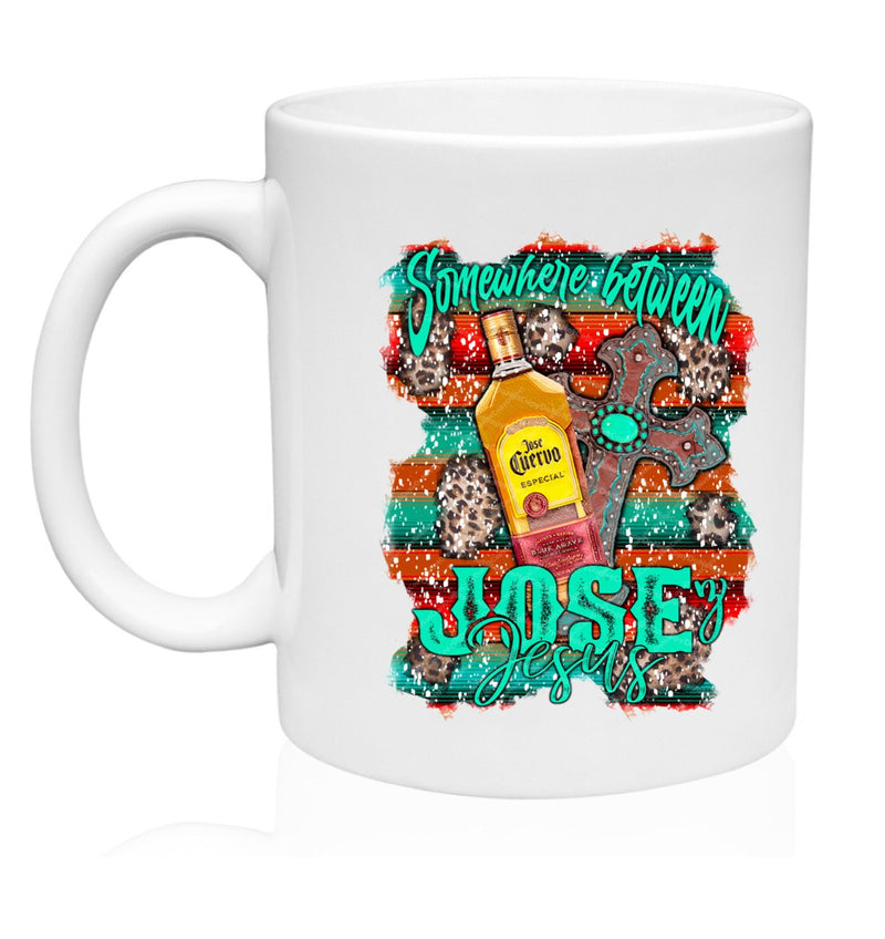Somewhere Between Jesus & Jose Mug