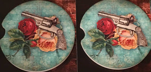 Pistol And Rose Car Coasters