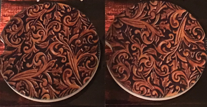 Tooled Leather Car Coasters