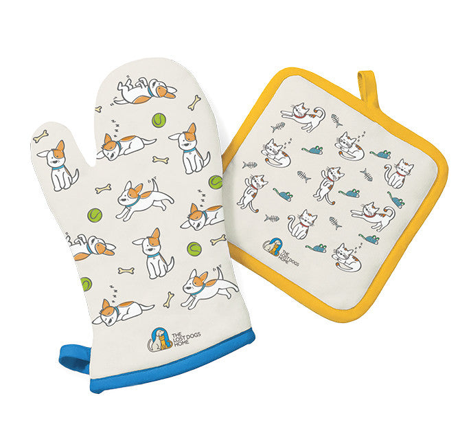 The Lost Dogs' Home Oven Mitt and Pot Holder Set