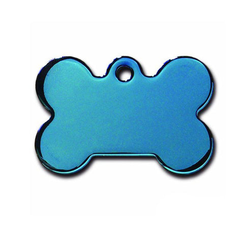 Pet ID Tag - Large Bone - Blue