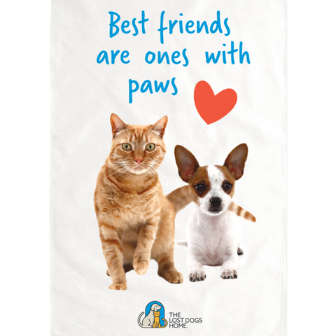 'Best Friends Are Ones With Paws' Tea Towel