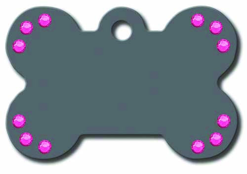 Pet ID Tag - Large Bone - grey with pink stones