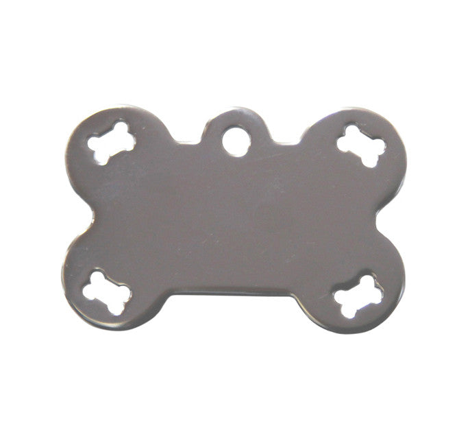 Pet ID Tag - Large Bone - Pierced Chrome