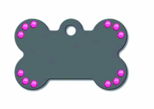 Pet ID Tag - Small Bone - grey with pink stones