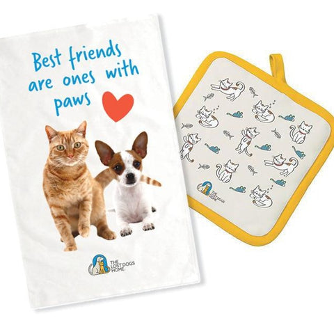 The Lost Dogs' Home Tea Towel and Pot Holder Set