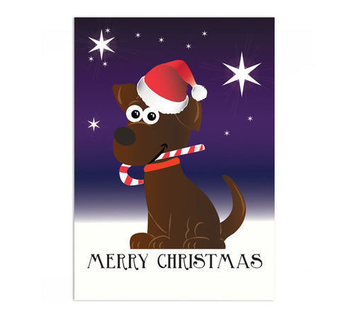 Candy Cane Puppy Christmas Card