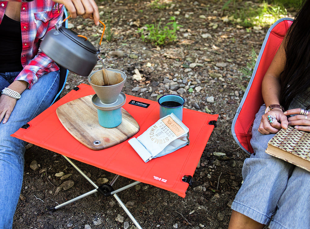 camp table with coffee