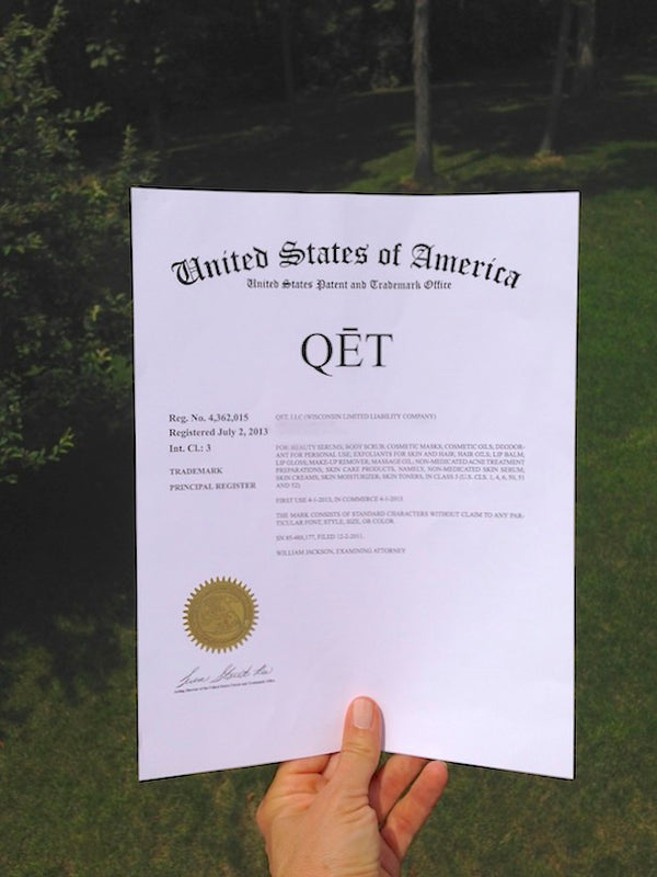 Qēt Botanicals clean beauty name certificate