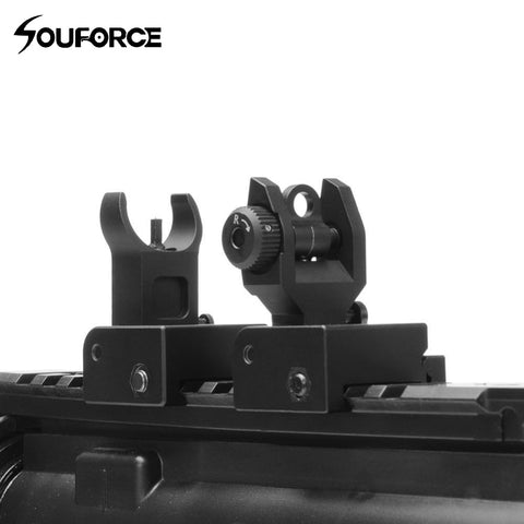 New Flip up Front Rear Iron Sight Set Dual Half Moon Shape BUIS Sights for 20mm Mount of Hunting Gun Rifle Airsoft Accessories