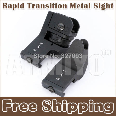 Armiyo Tactical Hunting Metal Front and Rear Scope Rapid Transition Offset 45 Degree Sight Set Fit 20mm Rail Mount Free Shipping
