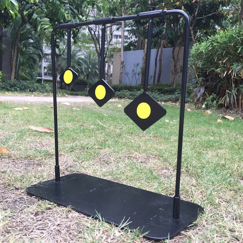 Three different sizes of rhombic steel targets of different heights will rotate after firing suitable for particle gun shooting