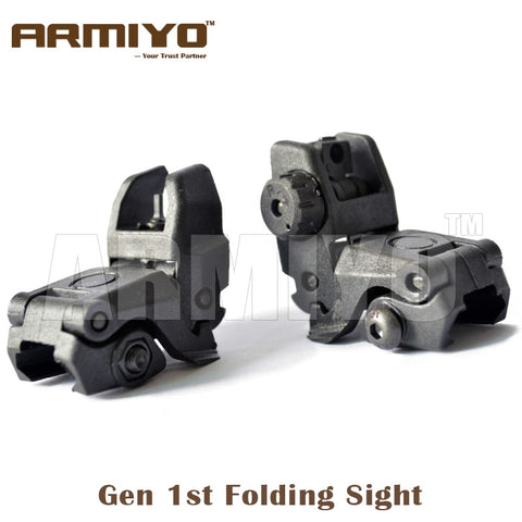 Armiyo Gen 1st Back-up Front and Rear Shooting Folding Mechanical Sight 20mm Rail Hunting Paintball Accessories