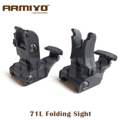 Armiyo 71L Front And Rear Flip-up Rifle Folding Sight Fit 20mm Rail Hunting Shooting Gun Scope Accessories