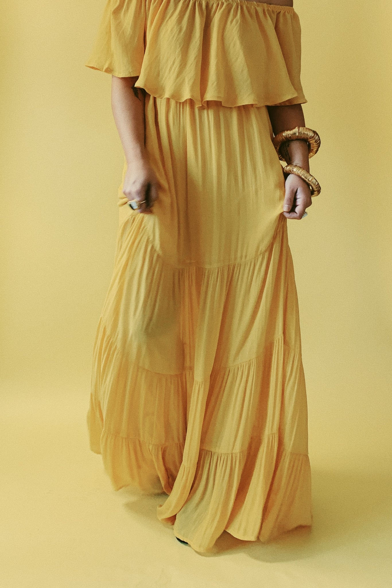 Off Shoulder Yellow Maxi Dress