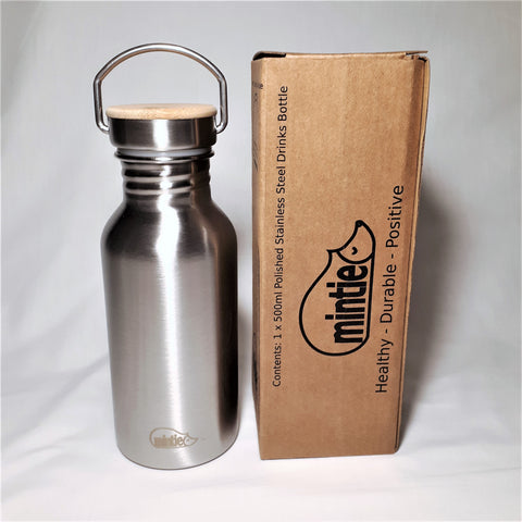Mintie 500ml Polished Stainless Steel Drinks Bottle