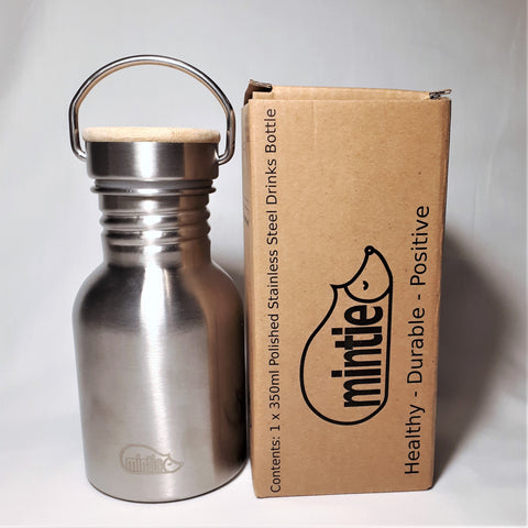 Mintie 350ml Polished Stainless Steel Drinks Bottle