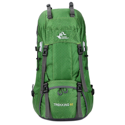 60L Waterproof Foldable Hiking Backpack with Rain Cover - Green