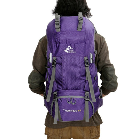 60L Foldable Hiking Backpack with Rain Cover - Purple