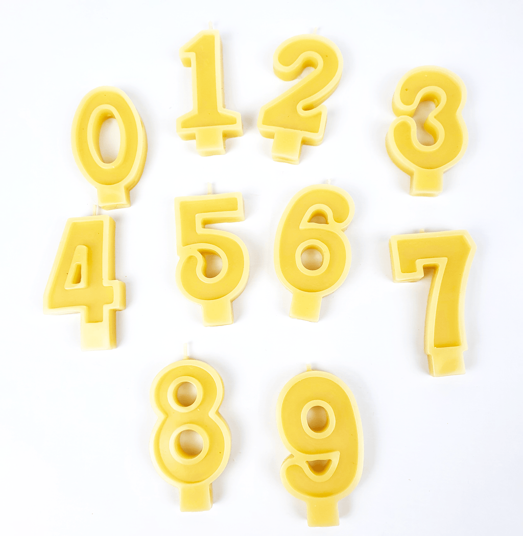 Beeswax number candles 0 to 9