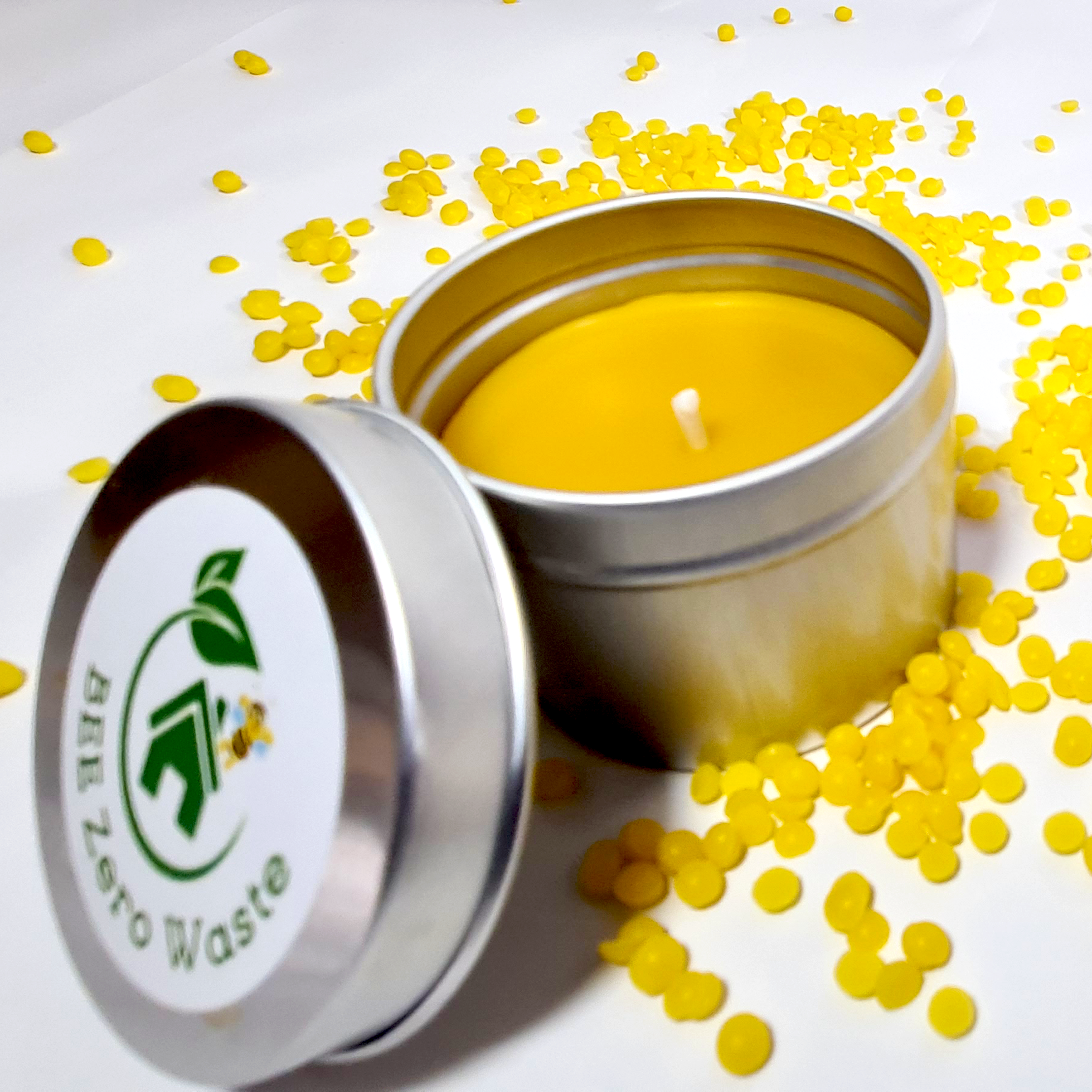 Beeswax candle in metal tin, Hand Poured in UK, BEE Zero Waste, pure beeswax and organic cotton wick