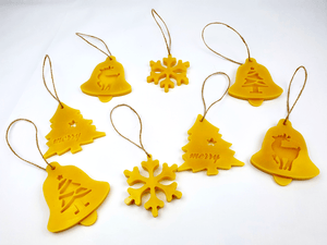Beeswax Christmas tree decorations, set of 8, Hand made in UK, ornaments, unscented - BEE Zero Waste