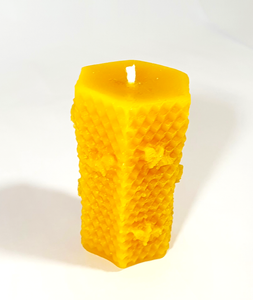 Beeswax candle, 3d honeycomb-Hexagon pillar, Hand Poured in UK, BEE Zero Waste, eco-friendly candle,natural air purifier