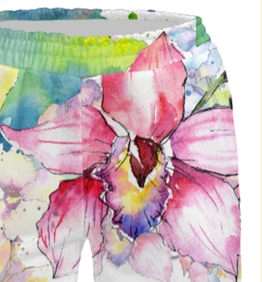 Women's pants Watercolor orchids