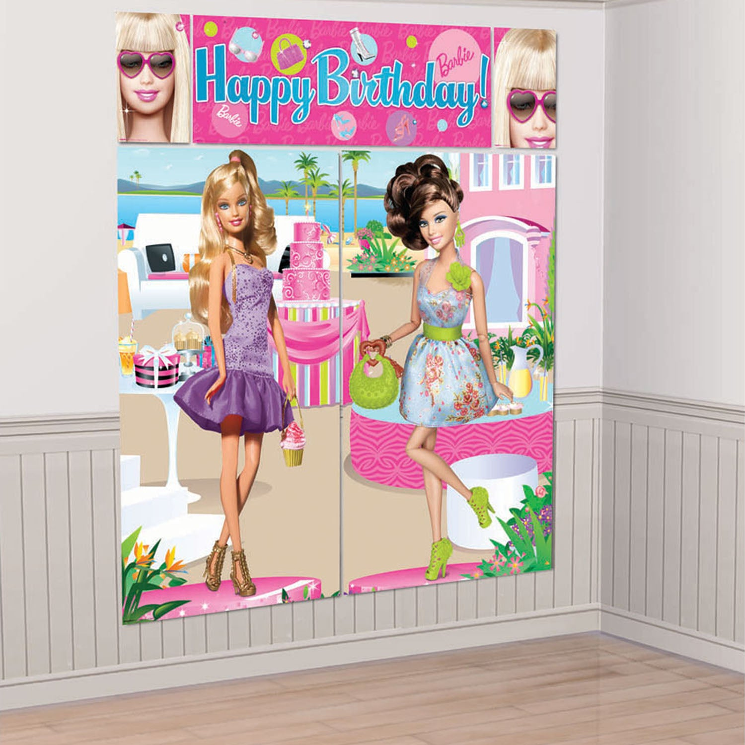 Barbie Party Supplies - All Doll'd Up Wall Decorating Kit