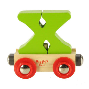 "Bigjigs® Wooden Railway - Rail Name Train Letter ""X"""