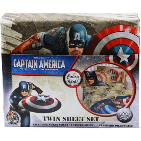 Captain America Bedding - Twin Sheet Set