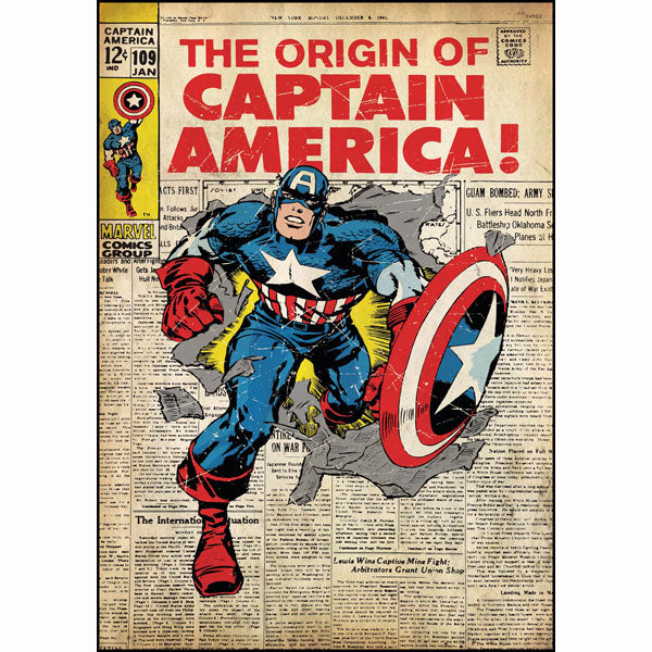 Captain America Bedroom Decor - Vintage Issue #109 Comic Cover Giant Wall Decal