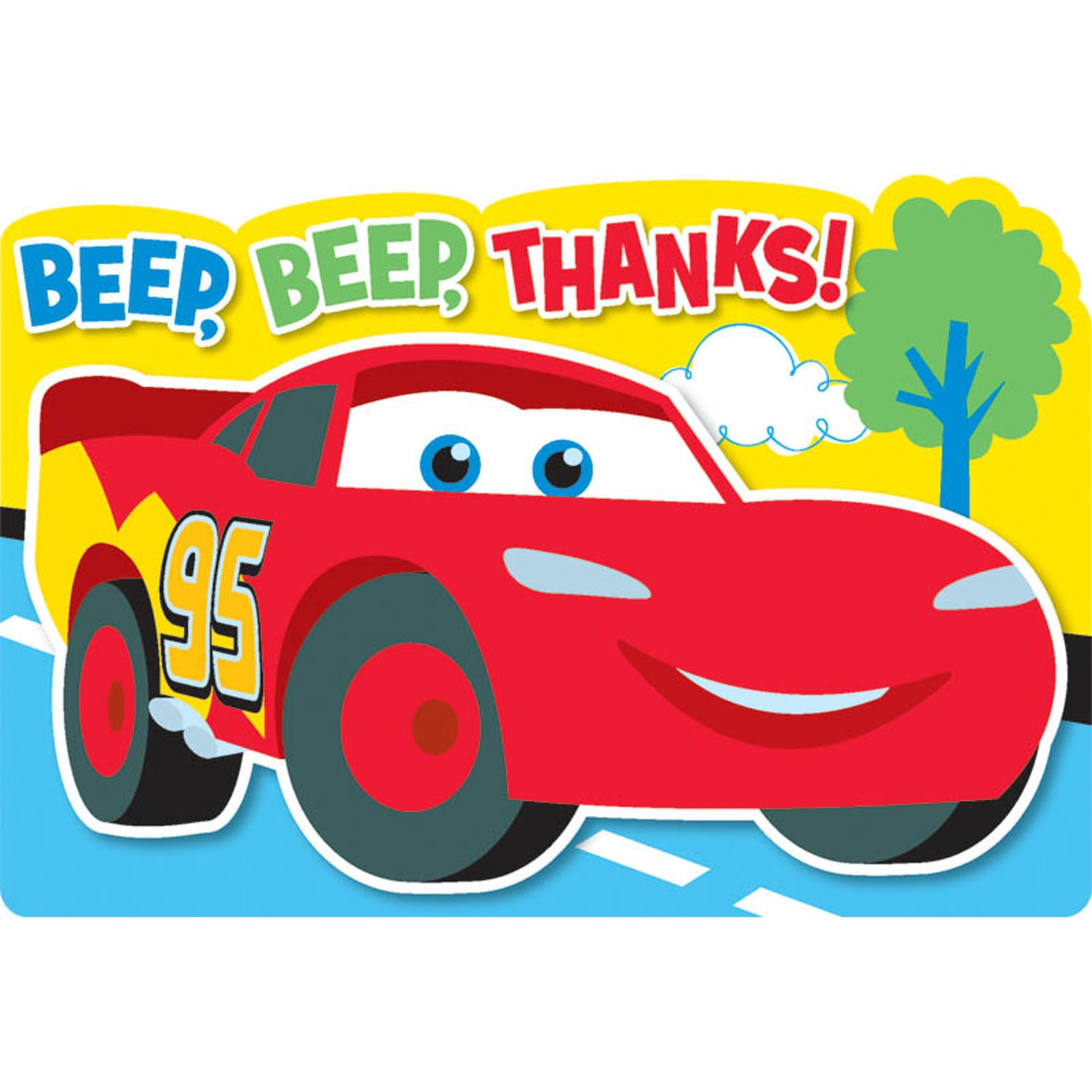 Disney Cars Party Supplies - 1st Birthday Thank you Notes