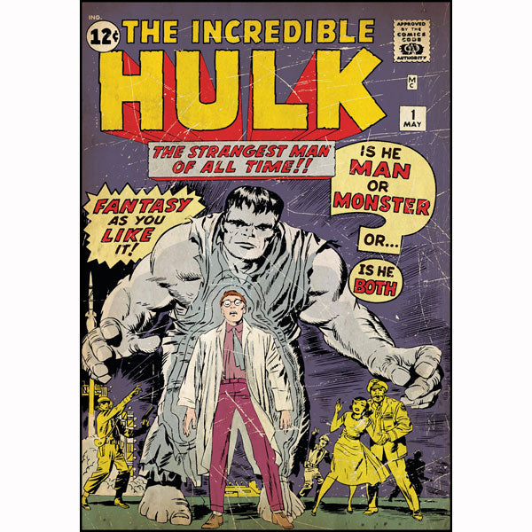 The Hulk Bedroom Decor - Vintage Issue #1 Comic Cover Giant Wall Decal